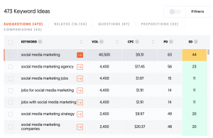 Ubersuggest Example - Paid Ads Best Practices